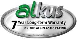 Alkus Panel System - 7 year warrantly on all-plastic facing